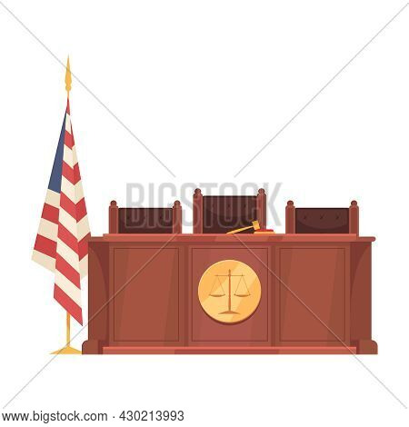 Law Justice Composition With American Flag And Judge Podium With Three Seats Vector Illustration