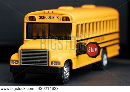 School Bus Model With Stop Sign. Do Not Pass The School Bus, The Stop Signal Arm. The School Bus Dis