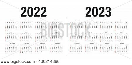 Calendar 2022 And 2023 Template. Calendar Layout In Black And White Colors. Week Starts On Sunday. M