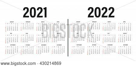 Calendar 2021 And 2022 Template. Calendar Layout In Black And White Colors. Week Starts On Sunday. M