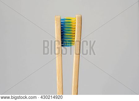 Toothbrush facing each other concept of lover and Relationship. Facing each other.