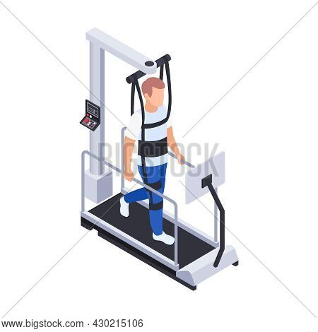 Physiotherapy Rehabilitation Isometric Composition With Man Walking On Medical Running Machine Vecto