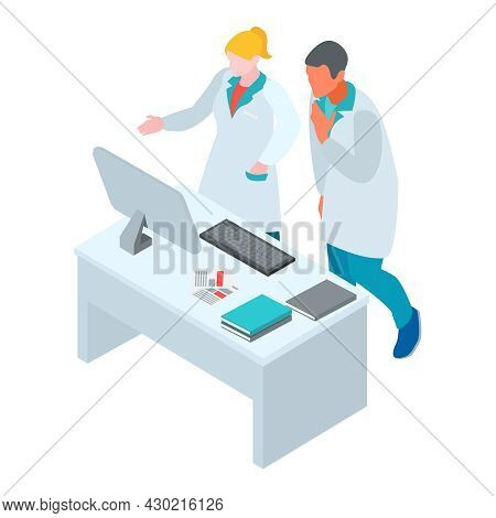 Isometric Infectious Disease Doctor Scientist Virologist Composition With Characters Of Workers In G