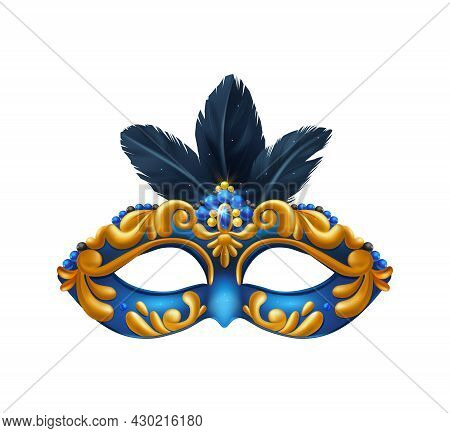 Realistic Carvinal Mask Composition With Isolated Image Of Masquerade Mask With Blue And Yellow Patt
