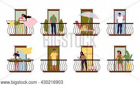 Neighbours On Their Balconies Talking Relaxing Watering Plants Hanging Out Laundry Flat Set Isolated