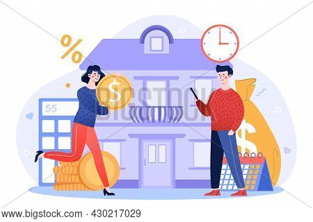 Mortgage Loan Concept. Investing Money In Real Estate Or Investing For Purpose Of Earning Money. Hap
