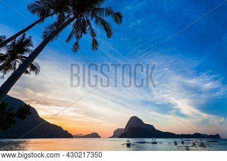 Beauty Tropical Sunset Landscape At El Nido, Palawan Island In Philippines