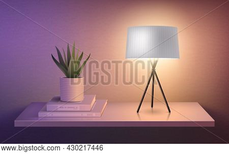Modern Lamp On Tripod Standing On Hanging Shelf Next To Flower Pot Realistic Composition Vector Illu