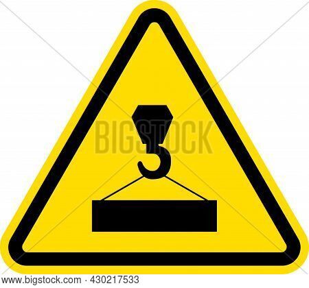 Overhead Crane Hazard Sign. Black On Yellow Background. Safety Signs And Symbols.