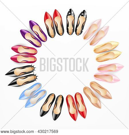 Classic Women Shoes High Heels Pumps Formal Casual Top View Realistic Colorful Circular Composition