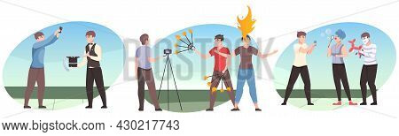 Entertainment Show Compositions Flat Set Of Cameramen Films Show Performers Isolated Vector Illustra