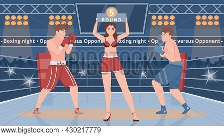 Boxing Ring Flat Vector Illustration With Two Male Boxers And Girl In Bikini Showing Sign With Numbe
