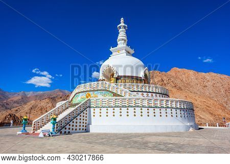 Shanti Stupa Is A Buddhist White Domed Stupa Or Chorten On A Hilltop In Leh City In Ladakh, North In