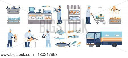 Seafood Fish Market Flat Icons Set With Human Characters Vehicle Showcase And Fresh Products Isolate