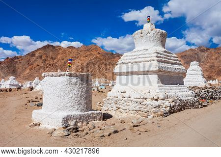 White Stupas At The Shey Monastery, A Tibetan Style Buddhist Monastery In Shey Village Near Leh In L
