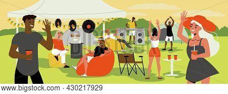 Dj Playing Vinyl Records Girls Drinking Soft Drinks At The Open Air Festival Flat Vector Illustratio