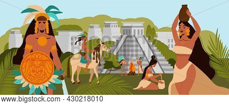 Maya Civilization With Mayan Natives On Background With Ancient Pyramid Buildings And Green Trees Fl
