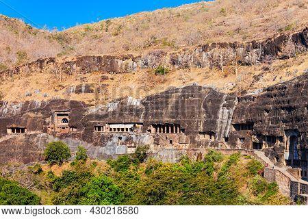 Ajanta Caves Are Rock Cut Ancient Buddhist Cave Monuments Near Aurangabad City In Maharashtra State