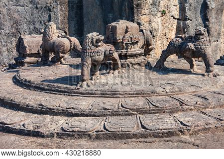 The Kailasa Or Kailash Temple Is The Largest Rock Cut Hindu Temple At The Ellora Caves In Maharashtr