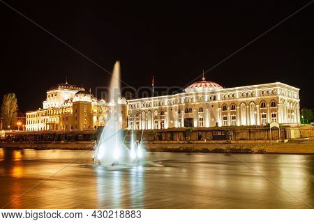 Macedonian National Theatre And Museum Of The Macedonian Struggle In The Centre Of Skopje City, Nort