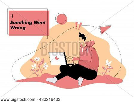 Something Went Wrong Flat Illustration Concept Vector