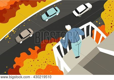 Man On Balcony Looking Down At Street With Cars
