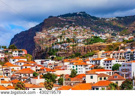 Camara Lobos Town And Cabo Girao Cliff In Madeira Island, Portugal