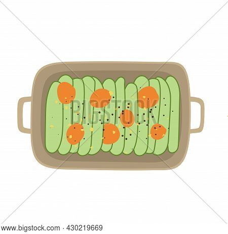 Baked Sliced Zucchini. Ratatouille On Plate Top View. French Cuisine Dish. Design Element For Menu C