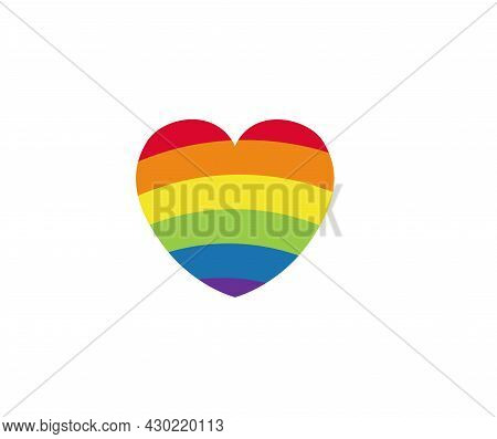 Pride Lgbt Heart Vector Icon. Lesbian Gay Bisexual And Transgender Community Concept. Flat Design Sy
