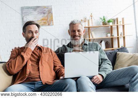 Smiling Homosexual Man Using Laptop Near Astonished Partner