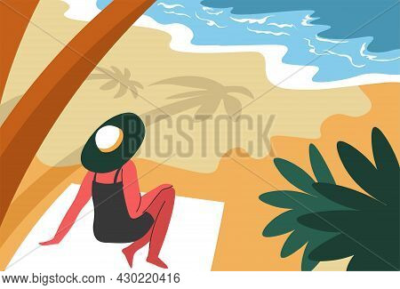 Woman Resting By Seaside In Shade Of Palm Trees