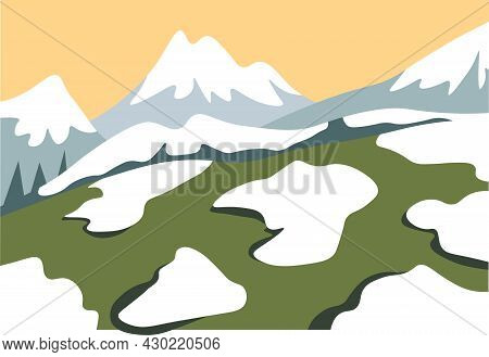 Snow Melting On Top Of Mountains Range Vector