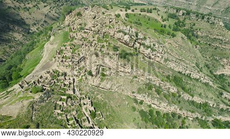 Ancient Village On Top Of Mountain. Action. Top View Of Mystical Abandoned Settlement On Top Of Moun