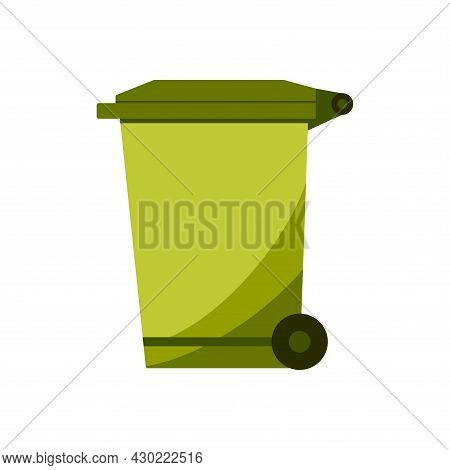 Recycle Bin For Trash And Garbage. Street Plastic Wheelie Waste Bin. Rubbish Container. Green Color