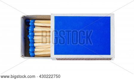 Box Of Matches Isolated On A White Background. Wooden Matches With Blue Heads In An Ajar Cardboard B