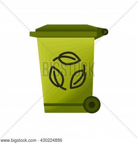 Recycle Bin For Trash And Garbage. Garbage Can With Waste Recycling Symbol. Rubbish Container. Green