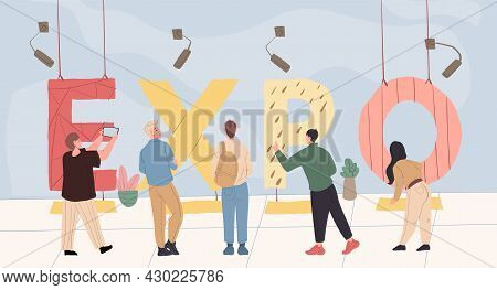 Vector Cartoon Flat Characters At Big Text Lettering Expo.different People Watch, Exam Huge Word Let