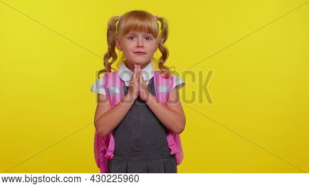 Please, God, Forgive Help Me. Pupil Girl Teenage Sincerely Praying To God And Looking Up With Pleadi