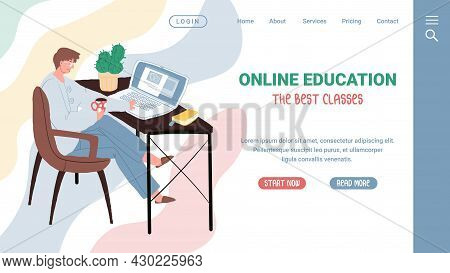 Vector Cartoon Flat Male Character Taking Online Educational Class.happy Man Person Studies Web Cour