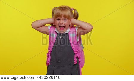 Dont Want To Hear And Listen. Frustrated Annoyed Irritated Little Blonde Teen Child Kid Girl In Scho