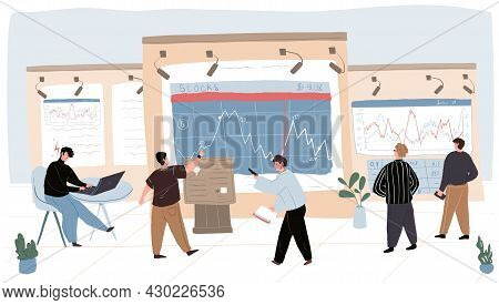 Vector Cartoon Flat Trading Businessman Characters At Work.financial Analysts Traders Looking At Bil
