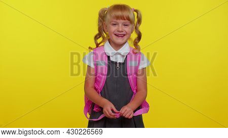 Little Cute Teen Child Kid Girl In School Uniform Laughing Out Loud After Ridiculous Anecdote, Funny