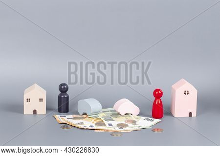 Divorce, Conflict, Breaking Love, Parting Couple Partnership, Property Division, Concept. Former Cou