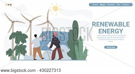 Vector Cartoon Flat Characters-exhibitor And Visitor At Renewable Energy Expo.exhibition Worker Expl