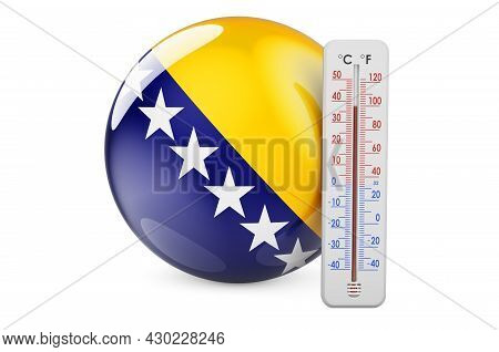 Bosnian Flag With Thermometer. 3d Rendering Isolated On White Background
