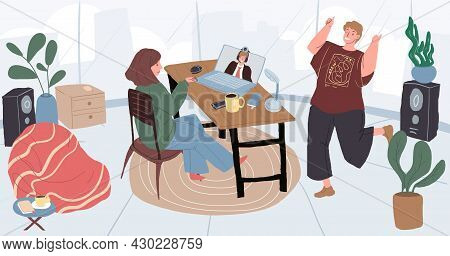 Vector Cartoon Flat Character Talk Online With Colleague.young People Discuss Business, Distance Wor