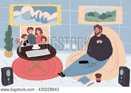 Vector Flat Cartoon Family Characters On Monitor Screen Talk With Friends, Relatives-parents And Chi