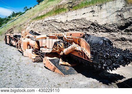 Vintage Coal Mining Machine On Display At The Bellevue Coal Mine In Alberta Canada.