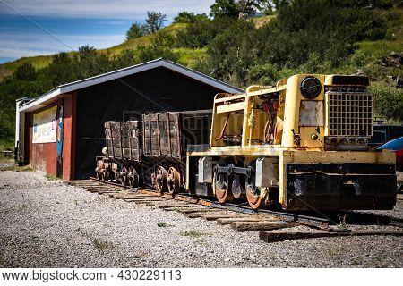 Bellevue Alberta Canada, July 22 2021: Vintage Coal Mining Equipment On Display At The Historic Coal