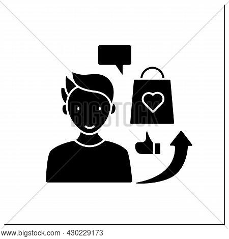 Influencer Advertising Glyph Icon. Social Media Marketing. Endorsements And Product Mentions. Collab
